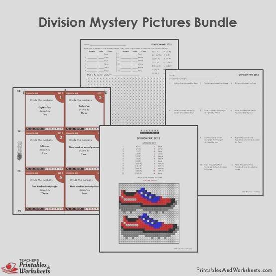 285 4th grade 4 division mystery pictures coloring worksheets task cards bundle
