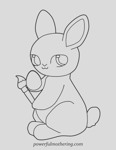 cute easter bunny a free printable coloring page