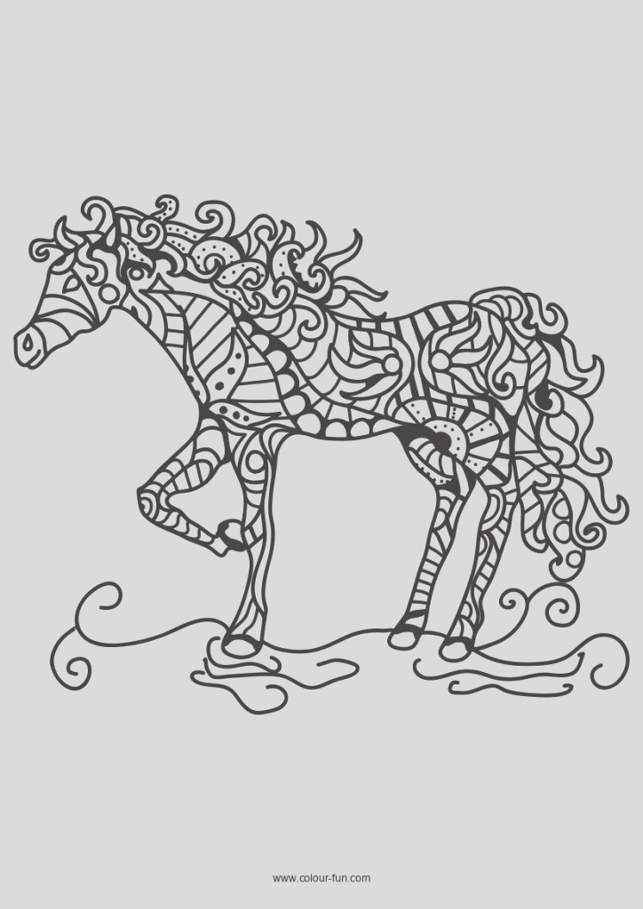 free adults horse colouring pages 1