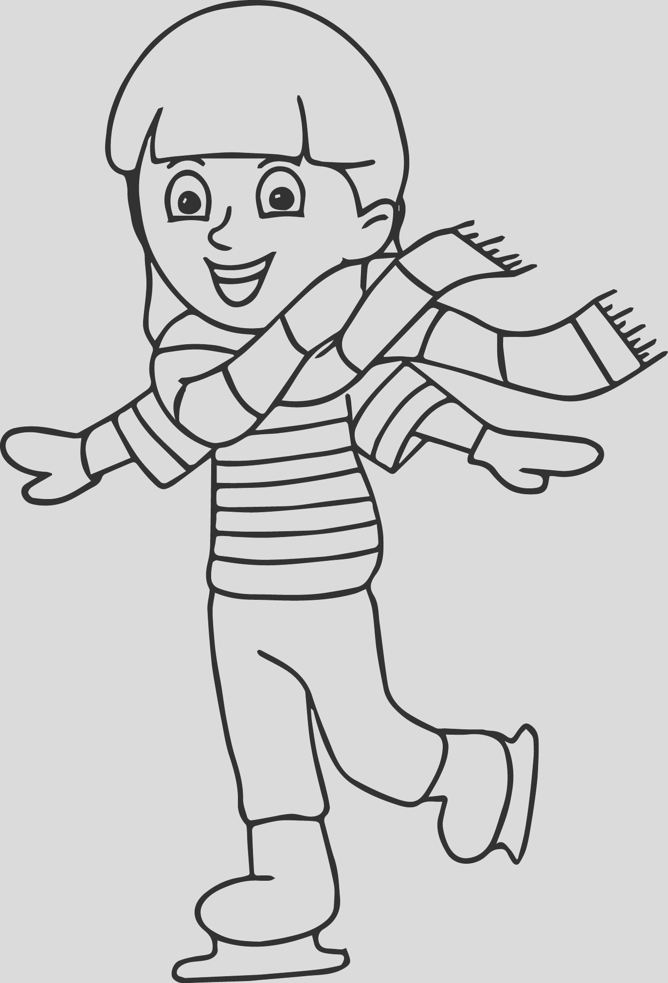 winter sport ice skating coloring page