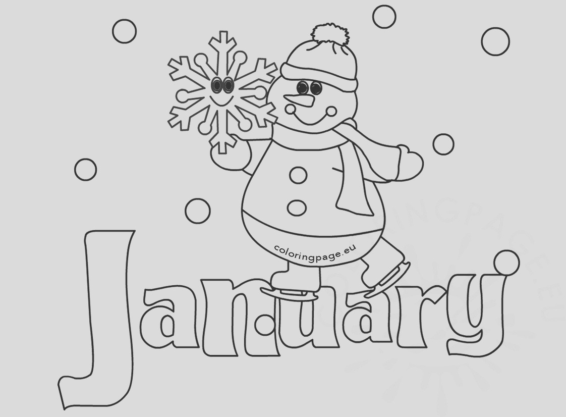winter coloring page january snowman