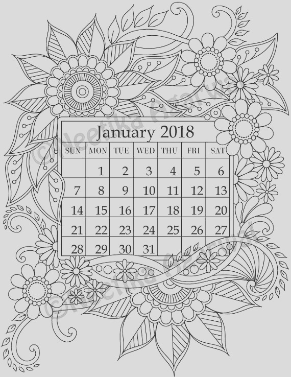 january 2018 coloring page calender