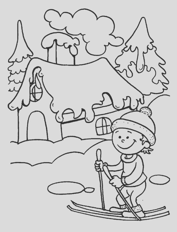 young little kid learning how to play ski on winter season coloring page