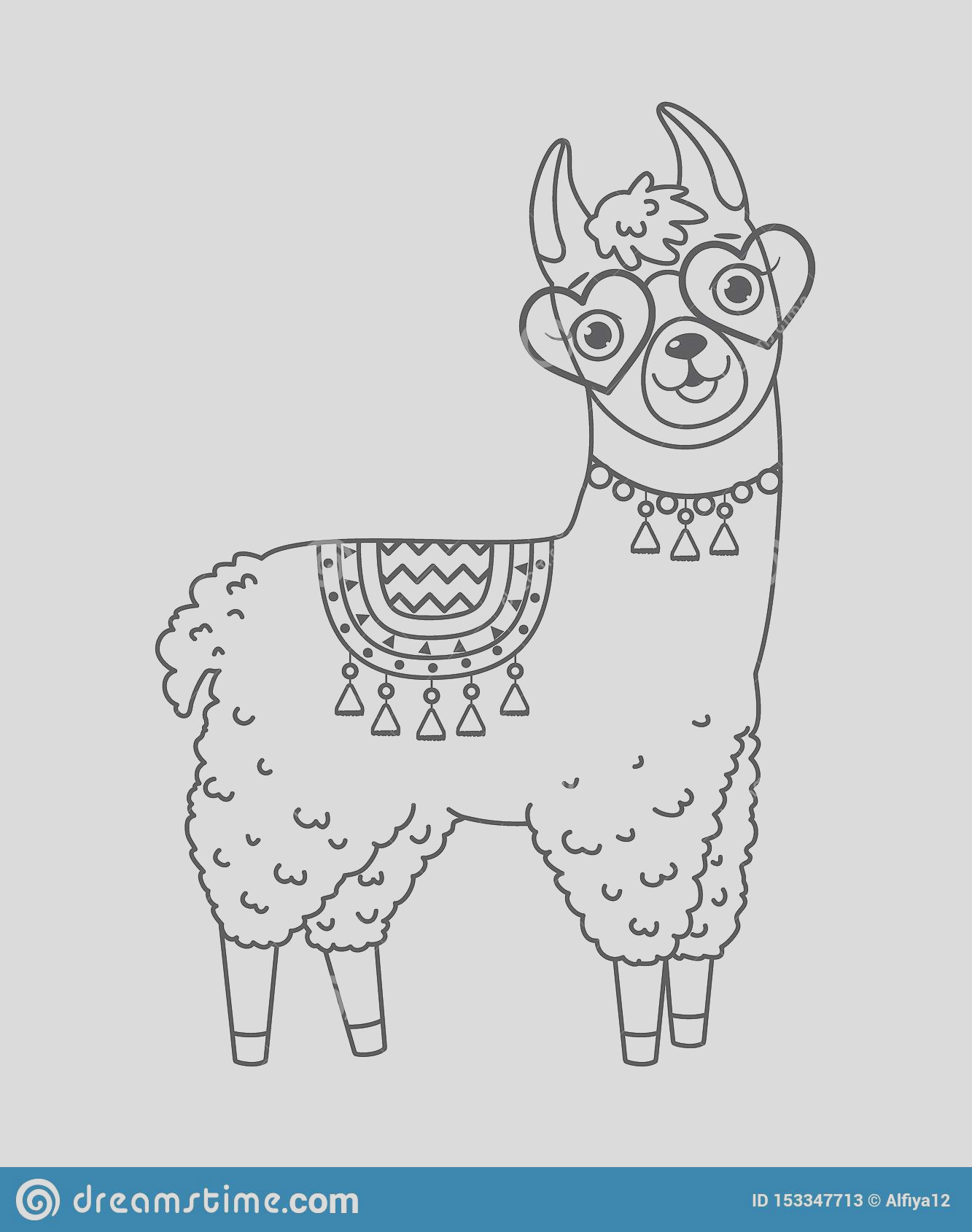 cute outline doodle llama sunglasses hand drawn elements vector illustration coloring pages image