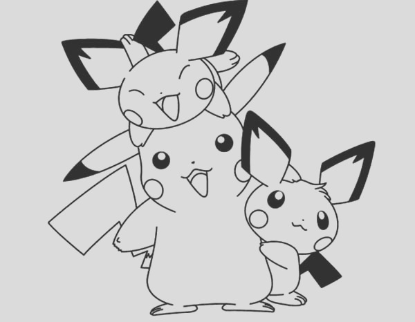 pichu happy family coloring page