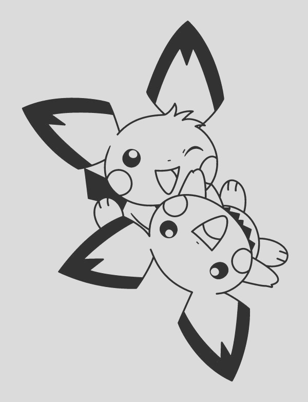 pichu playing to her coloring page
