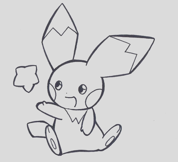 pichu playing with star coloring page