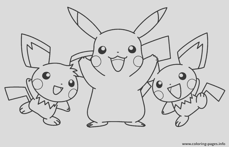 pikachu with his pichu friends pokemon printable coloring pages book