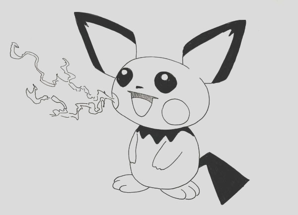 pichu fire breathe coloring page