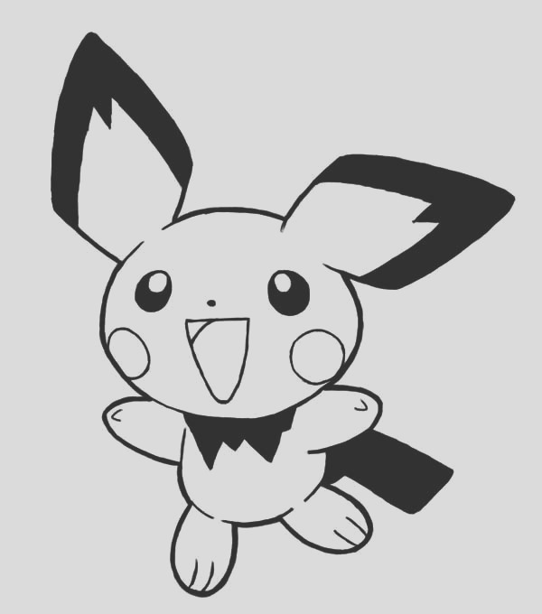 pichu is so excited coloring page