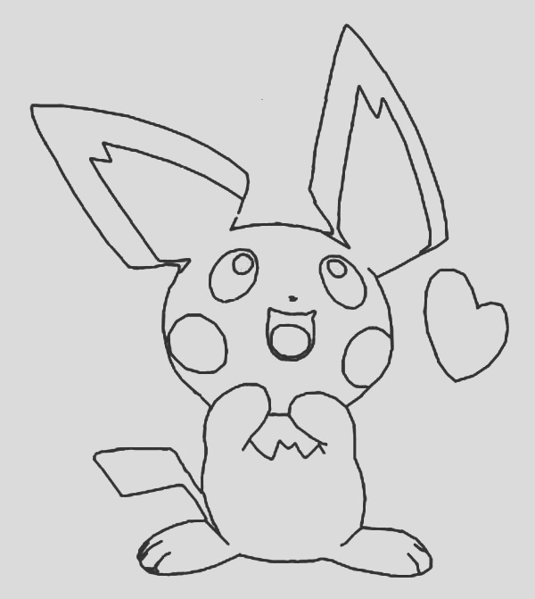 pichu is in love coloring page