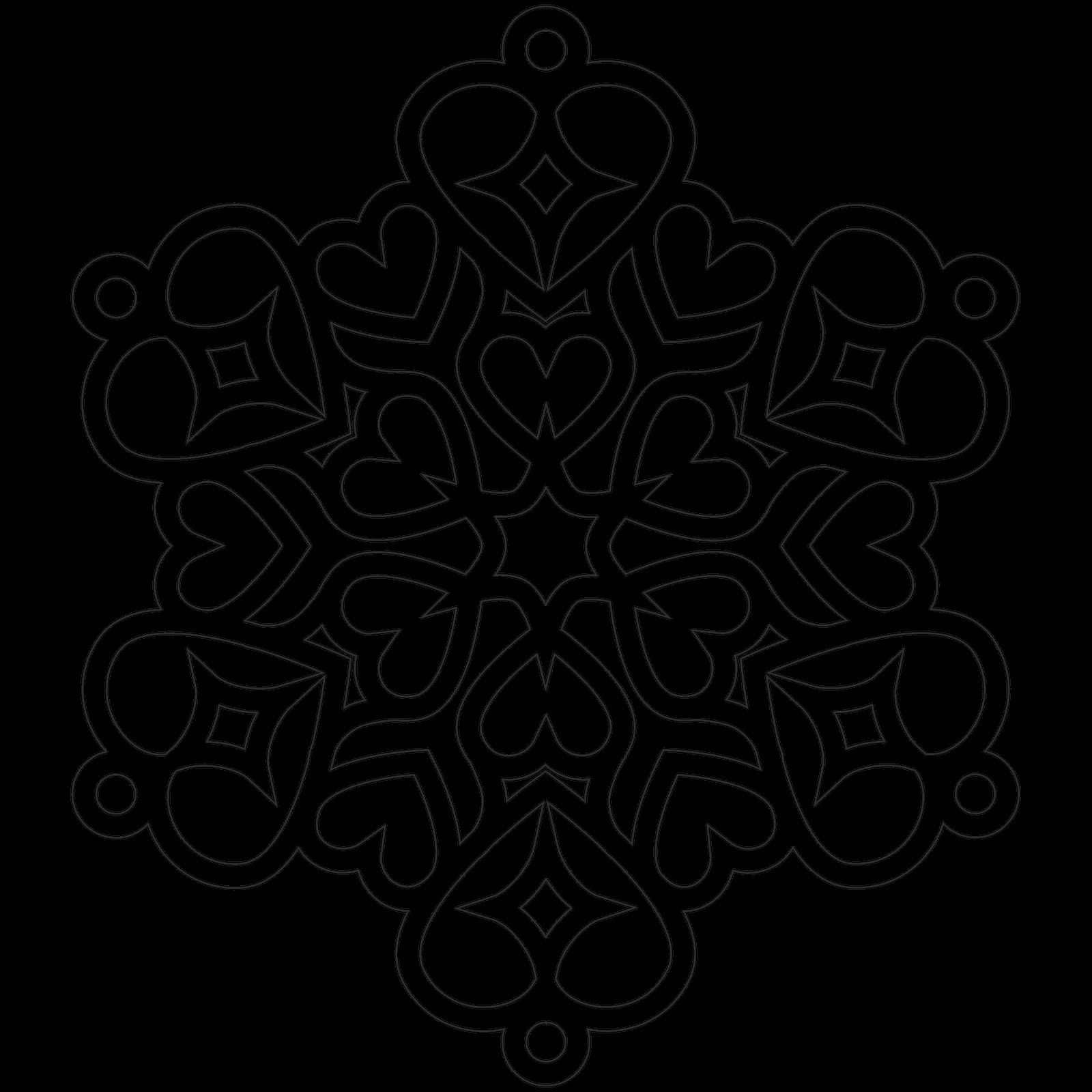 heart snowflake coloring page