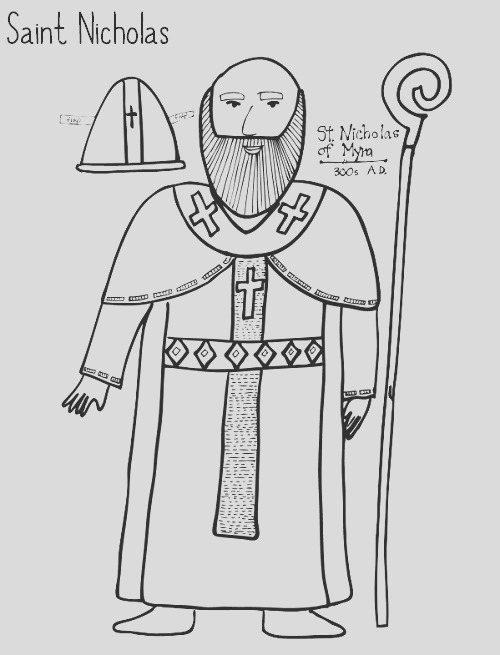 saint nicholas free coloring page and