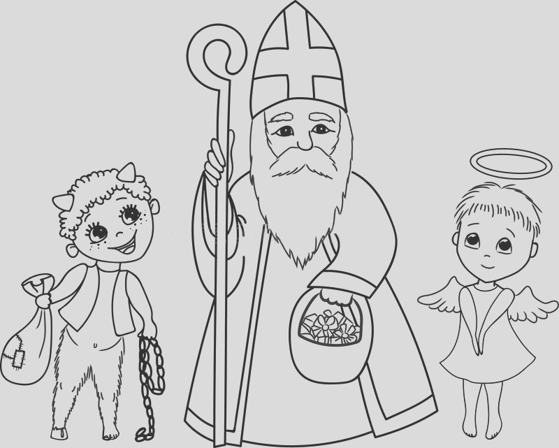 stock illustration st nicholas angel devil coloring page saint presents little cute traditional christmas characters image