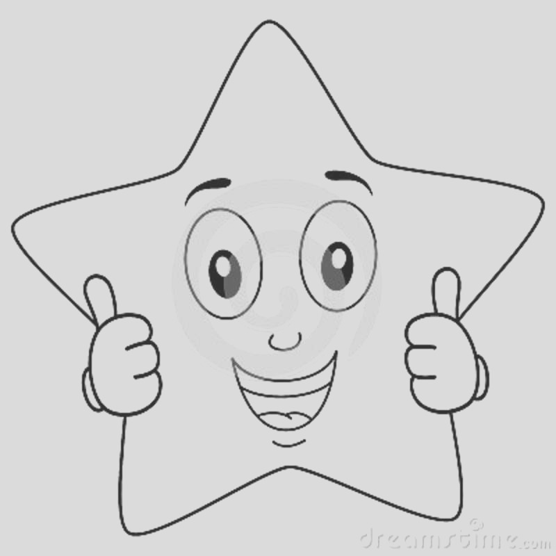 stock illustration coloring brilliant star character thumbs up illustration kids funny yellow isolated white background eps file image