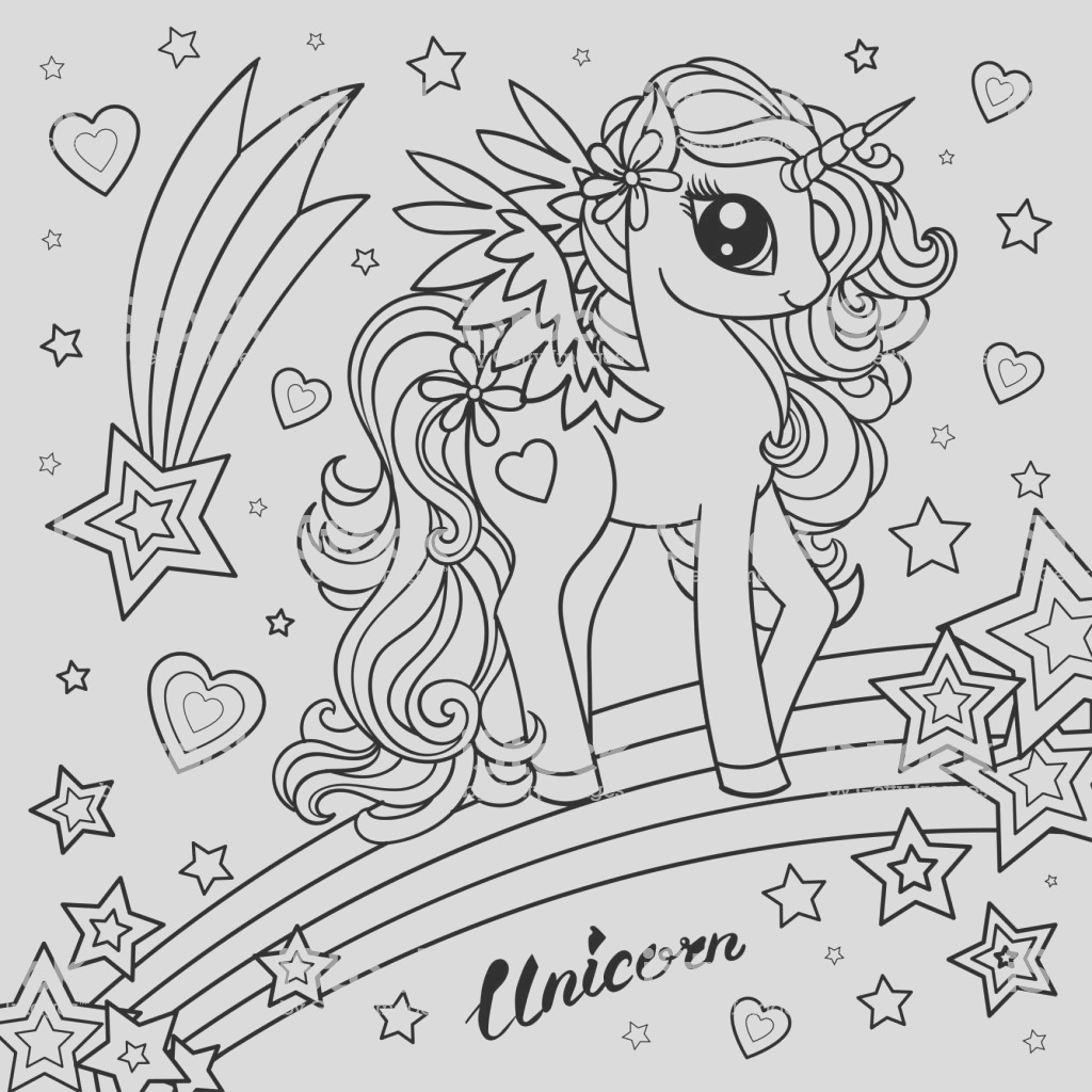 cute unicorn black and white illustration for coloring vector gm