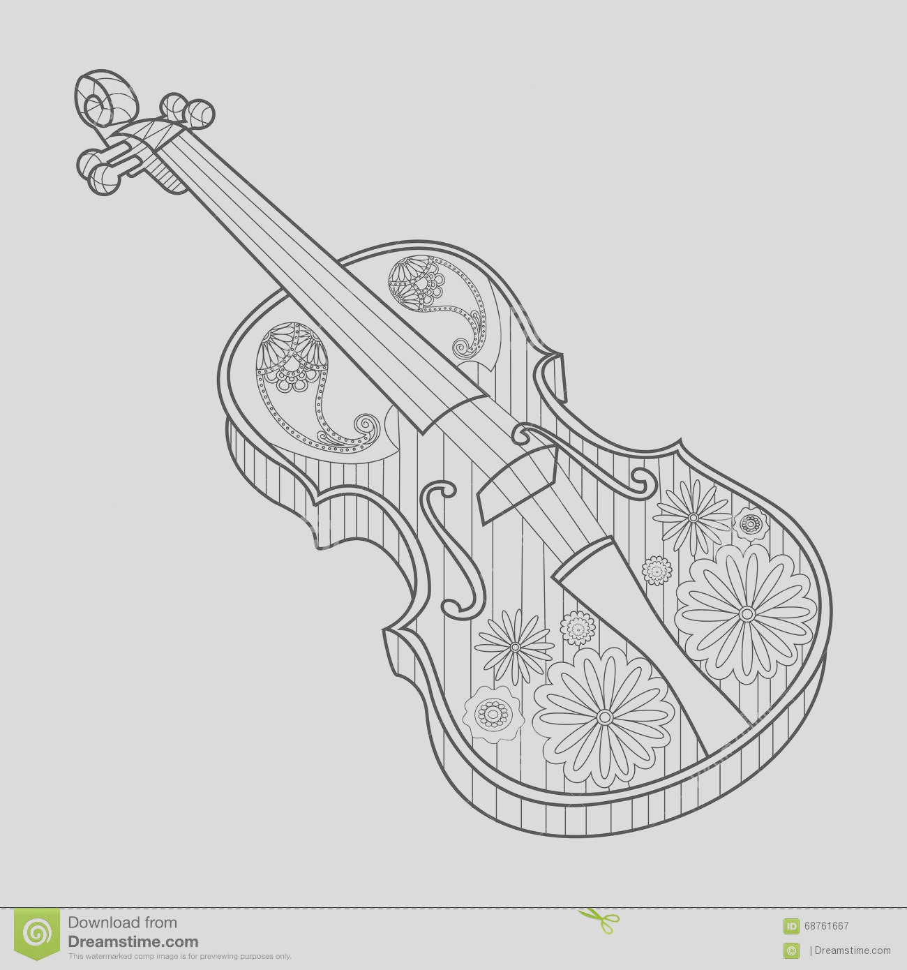 stock illustration coloring adults violin vector illustration anti stress book zentangle style image