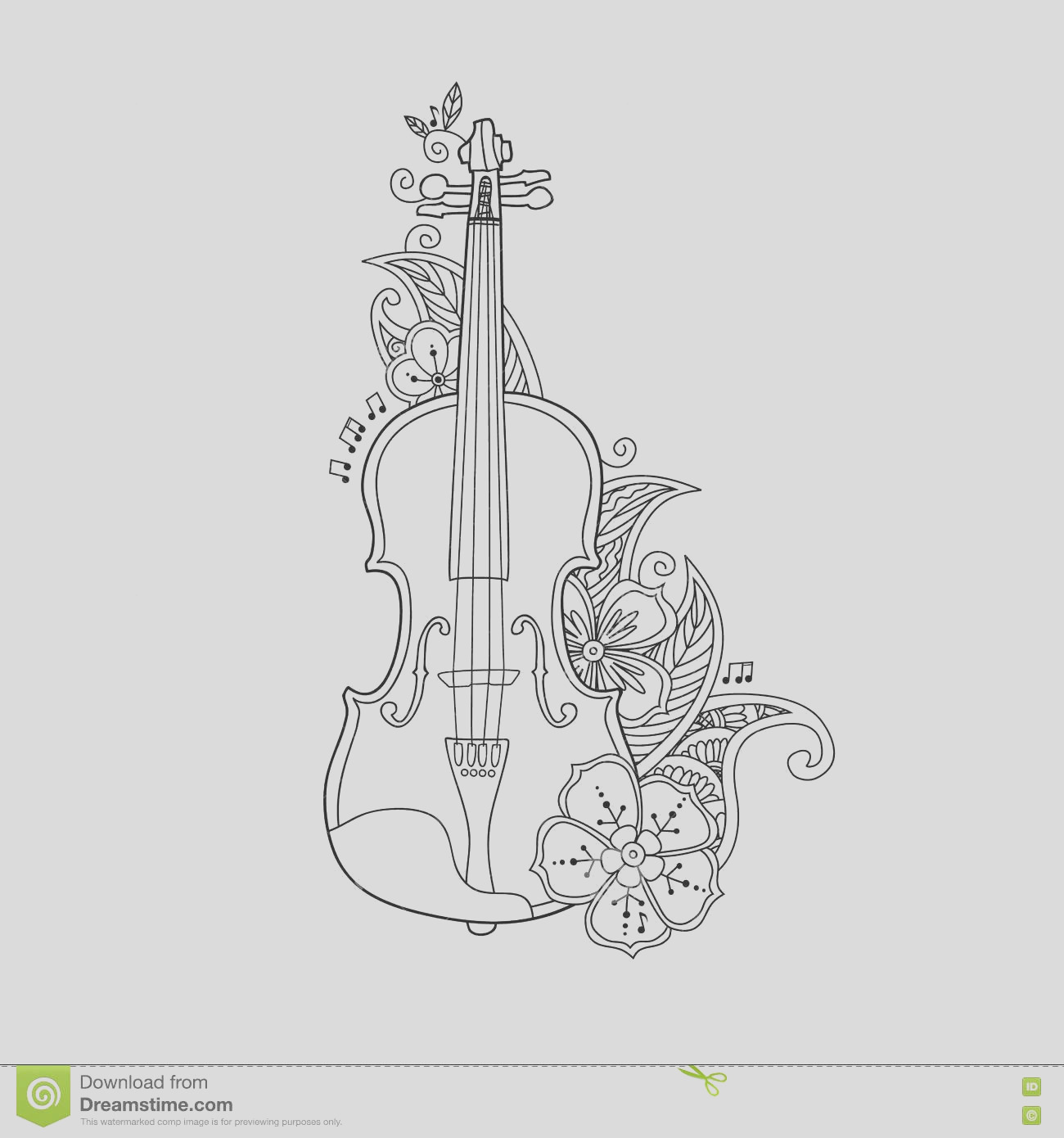 stock illustration coloring page violin flowers leafs floral mehendi doodle style isolated white background antistress book image