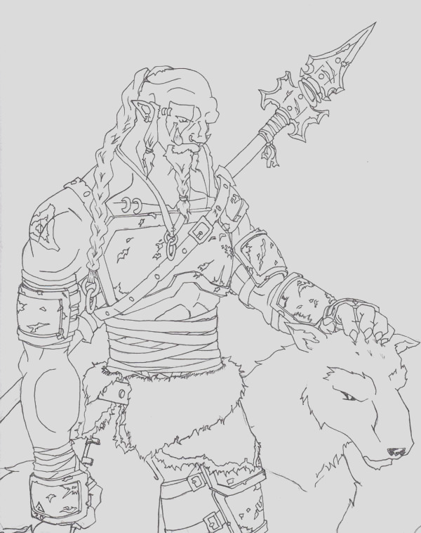 world of warcraft orc hunter coloring page