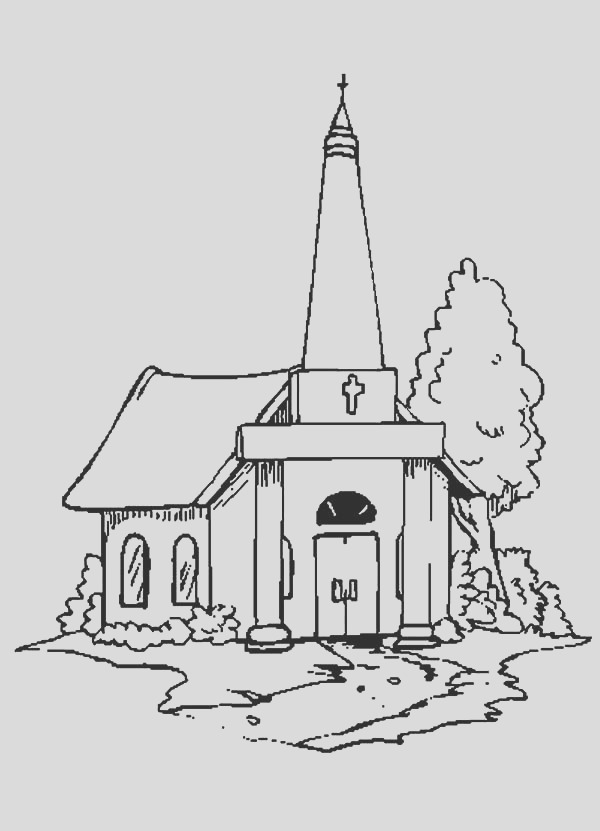 drawing church coloring pages