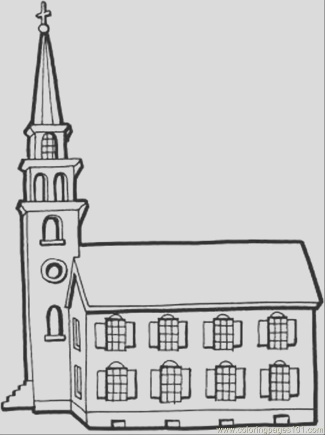 coloring pages of a church