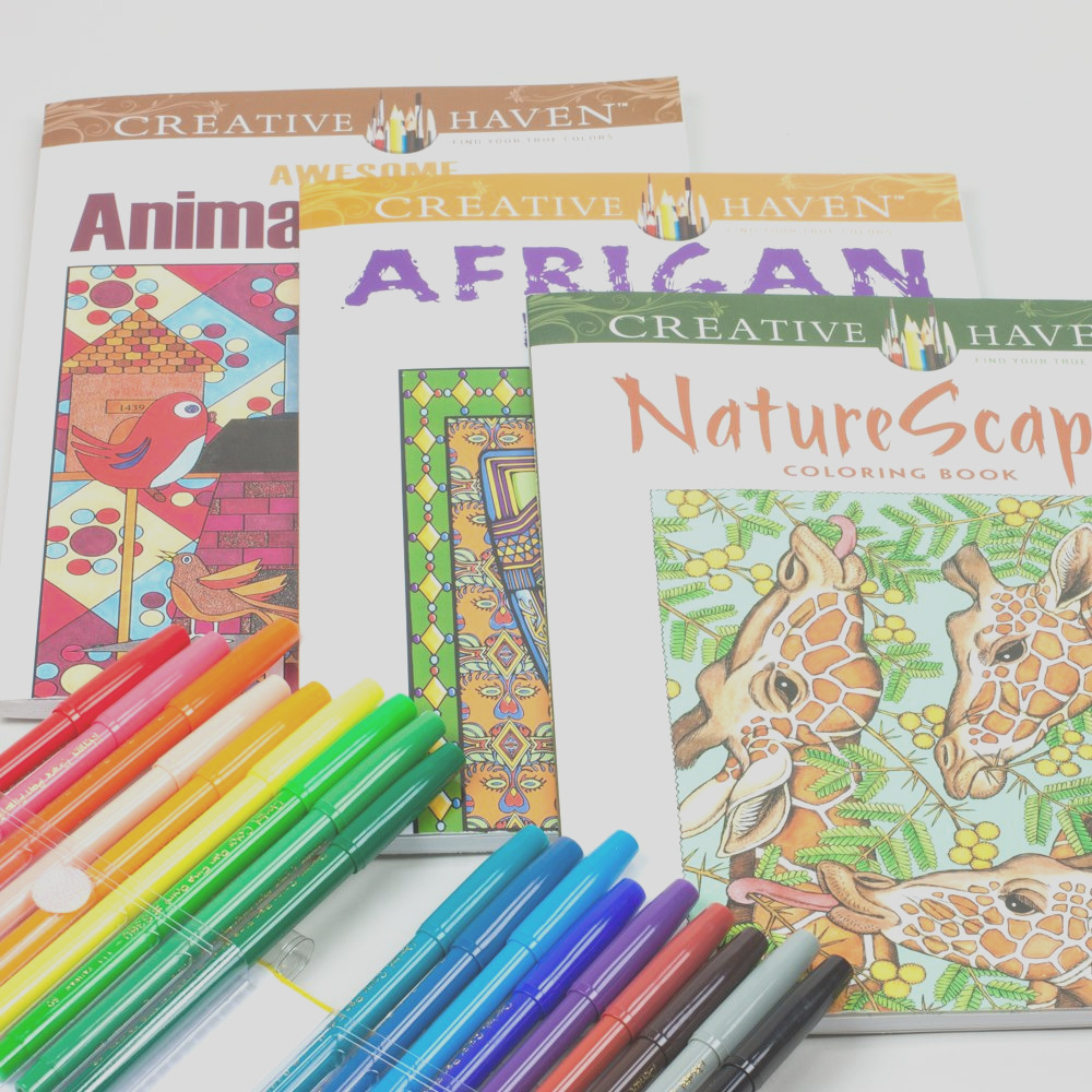 adult coloring book kit with pentel fine point color markers