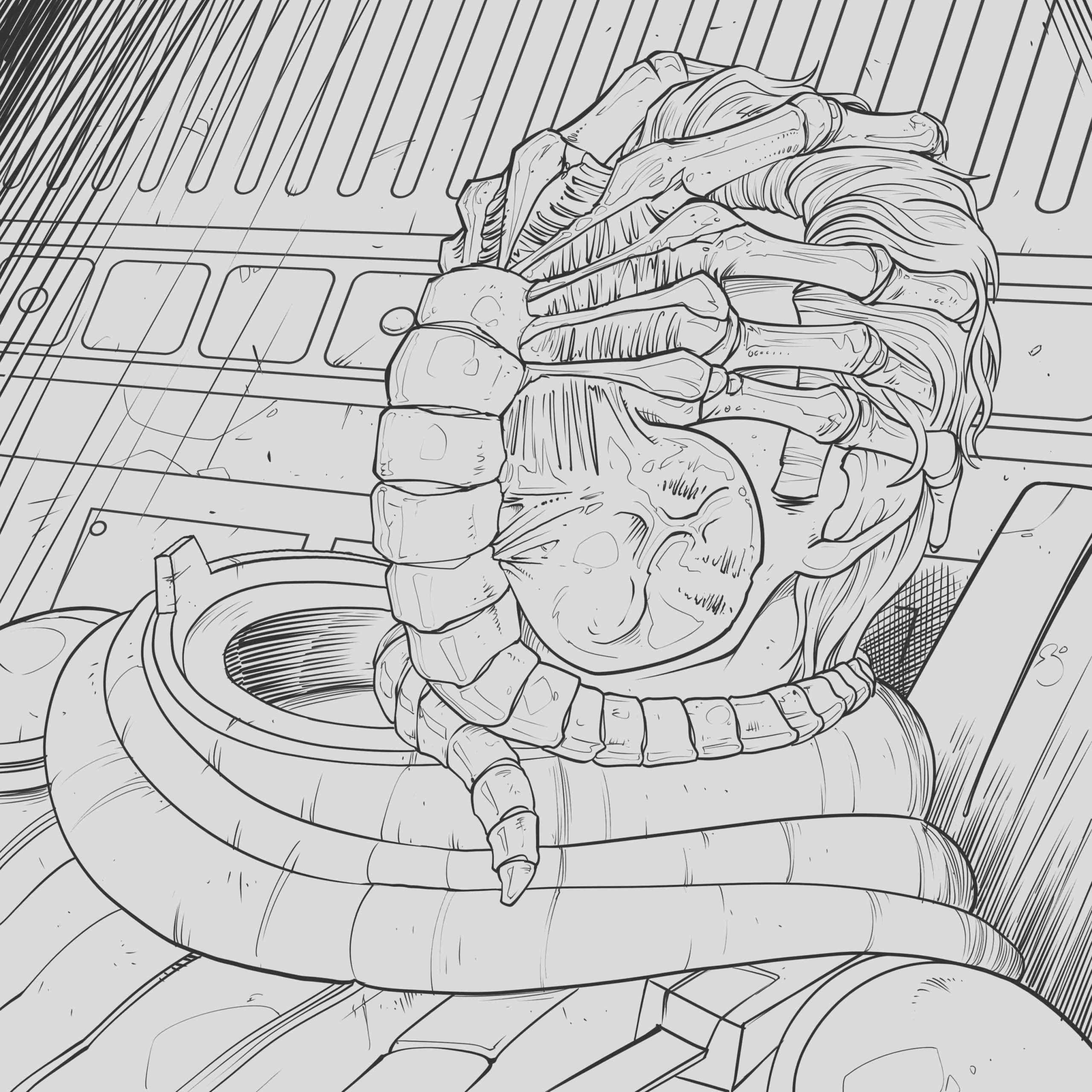 four exclusive alien coloring book pages