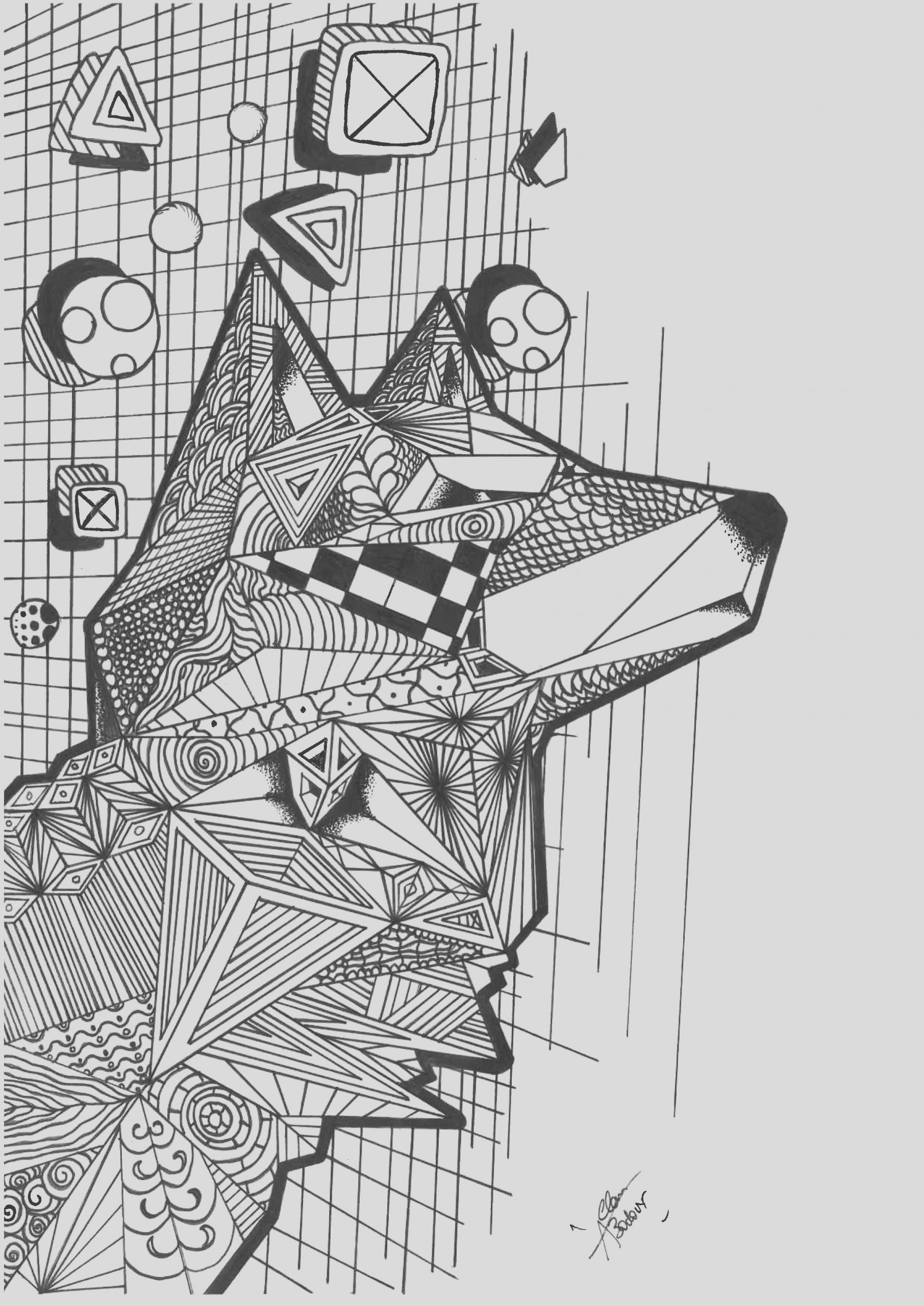 image=wolves coloring wolf with geometric patterns 1