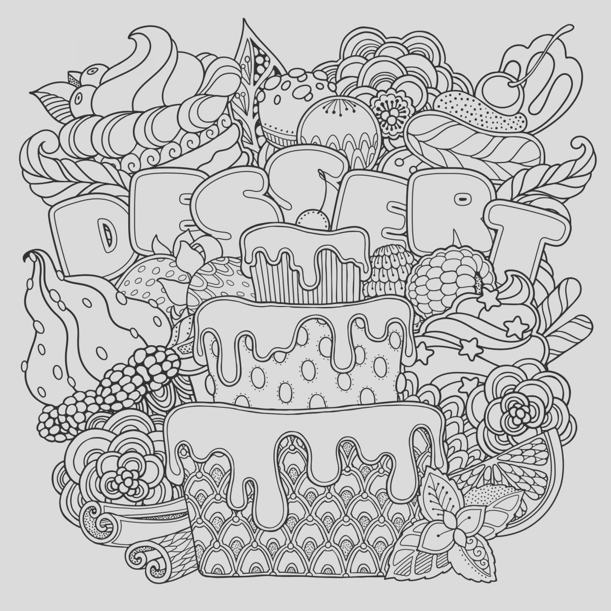 Desserts Coloring Page Best Of Mix Of Desserts Cupcakes Adult Coloring Pages