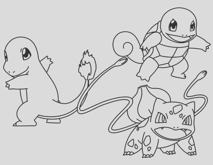 bulbasaur le and charmander pokemon coloring pages