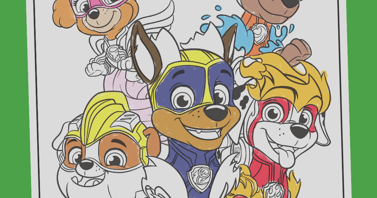 paw patrol mighty pups coloring page