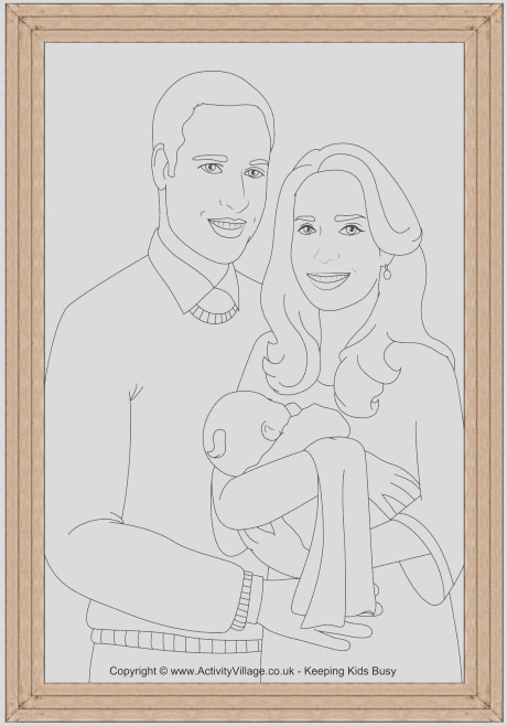 will and kate new arrival colouring page