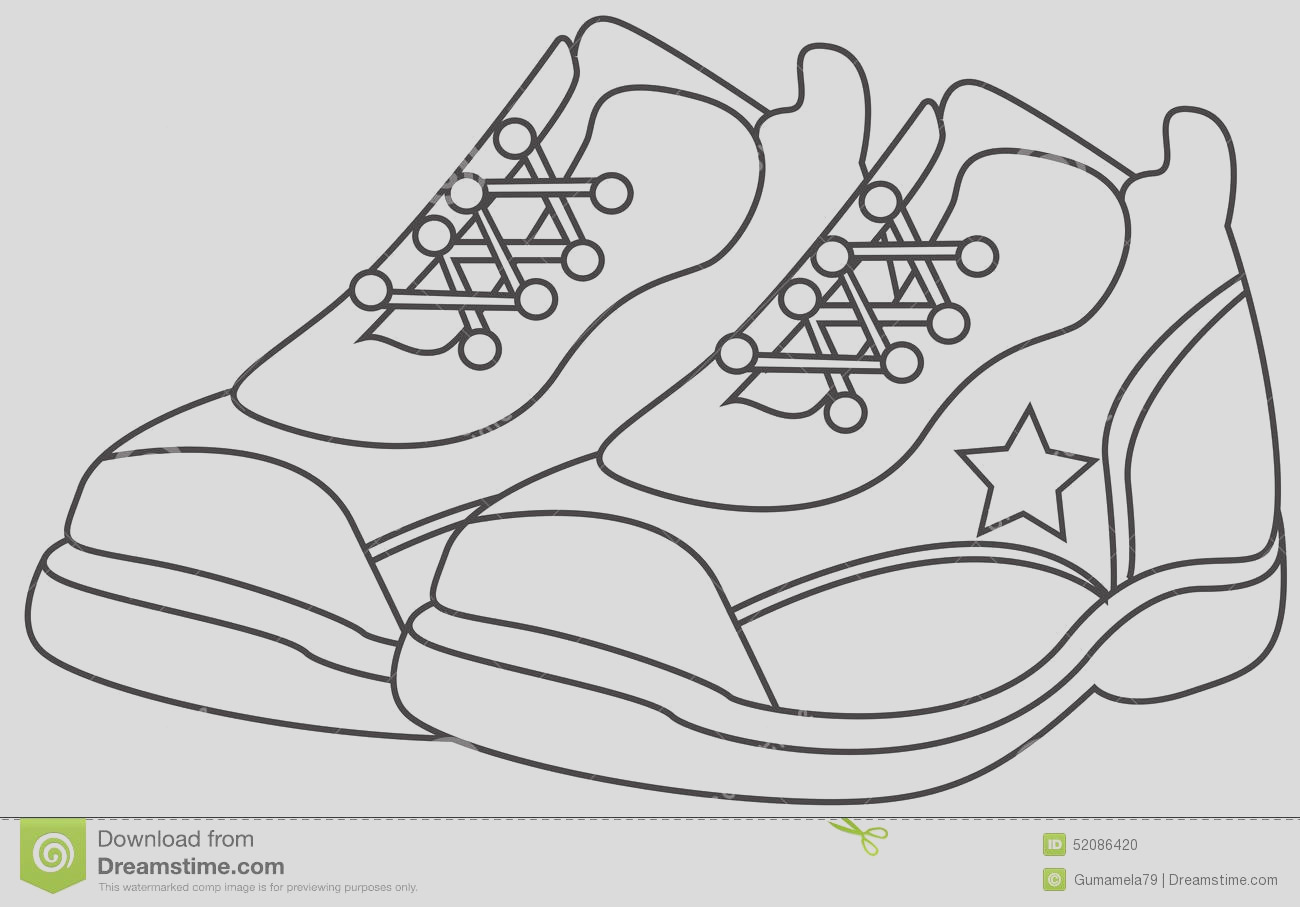 stock illustration running shoes coloring page useful as book kids image