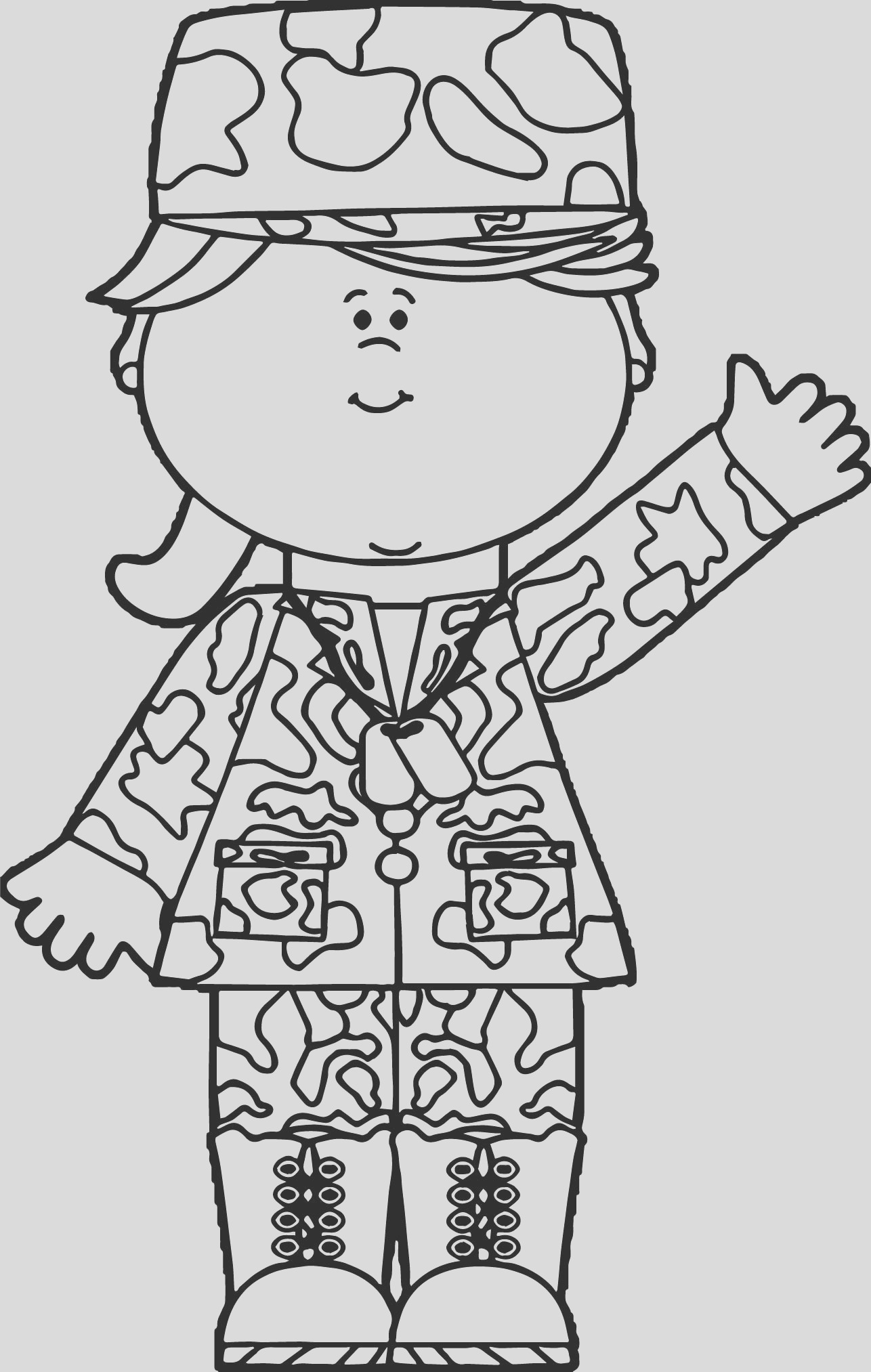 sol r girl waving coloring page