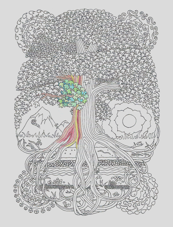 adult coloring page peace sign tree