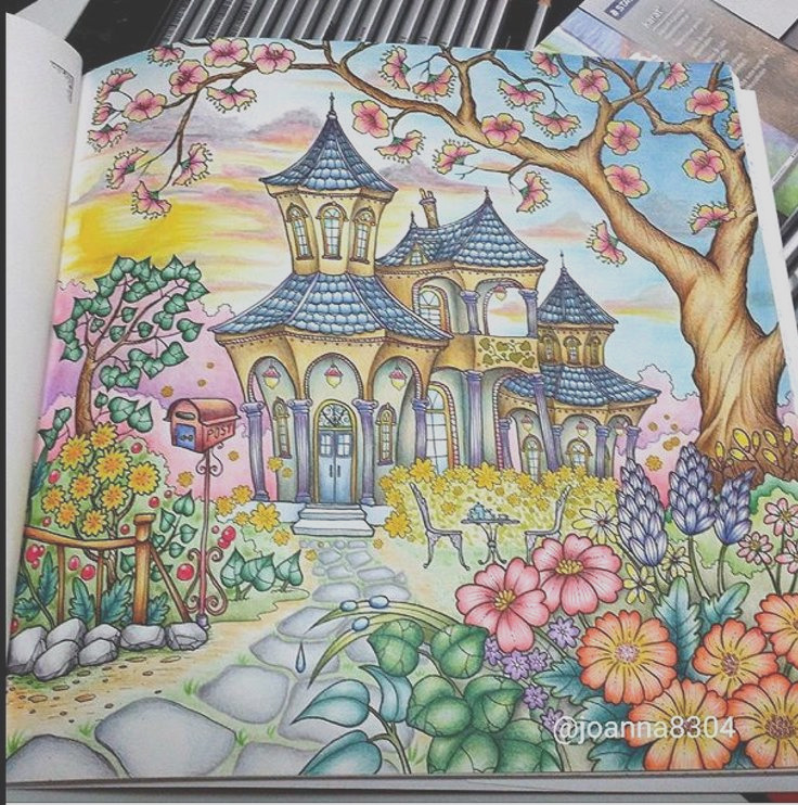 romantic country coloring book finished pages eriy