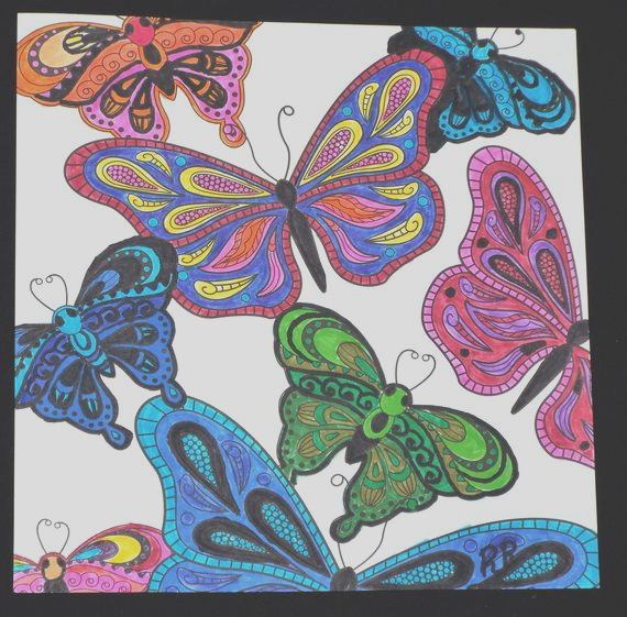 adult coloring book finished page