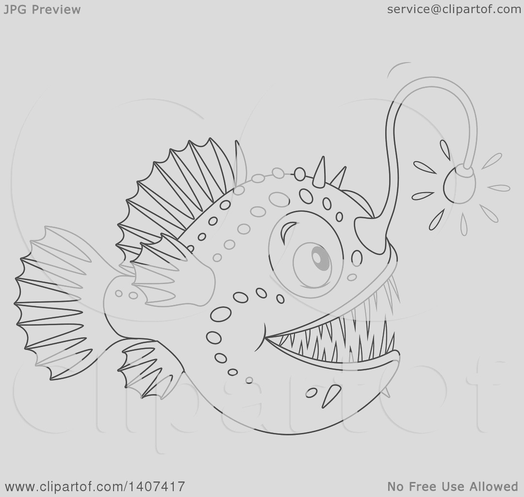 black and white lineart shining angler fish