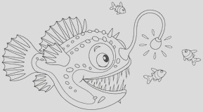 stock illustration anglerfish coloring page black white line vector drawing deep water fish seaweed bubbles image