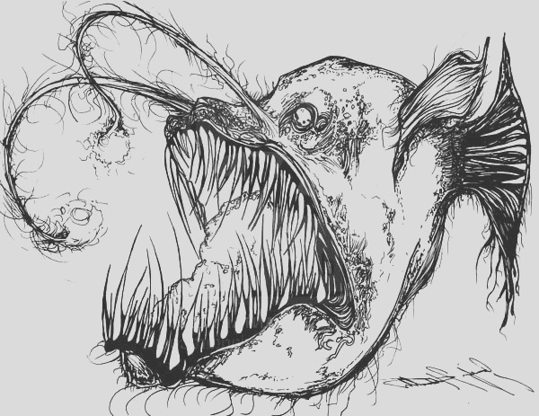 angler fish is fish from hell coloring pages
