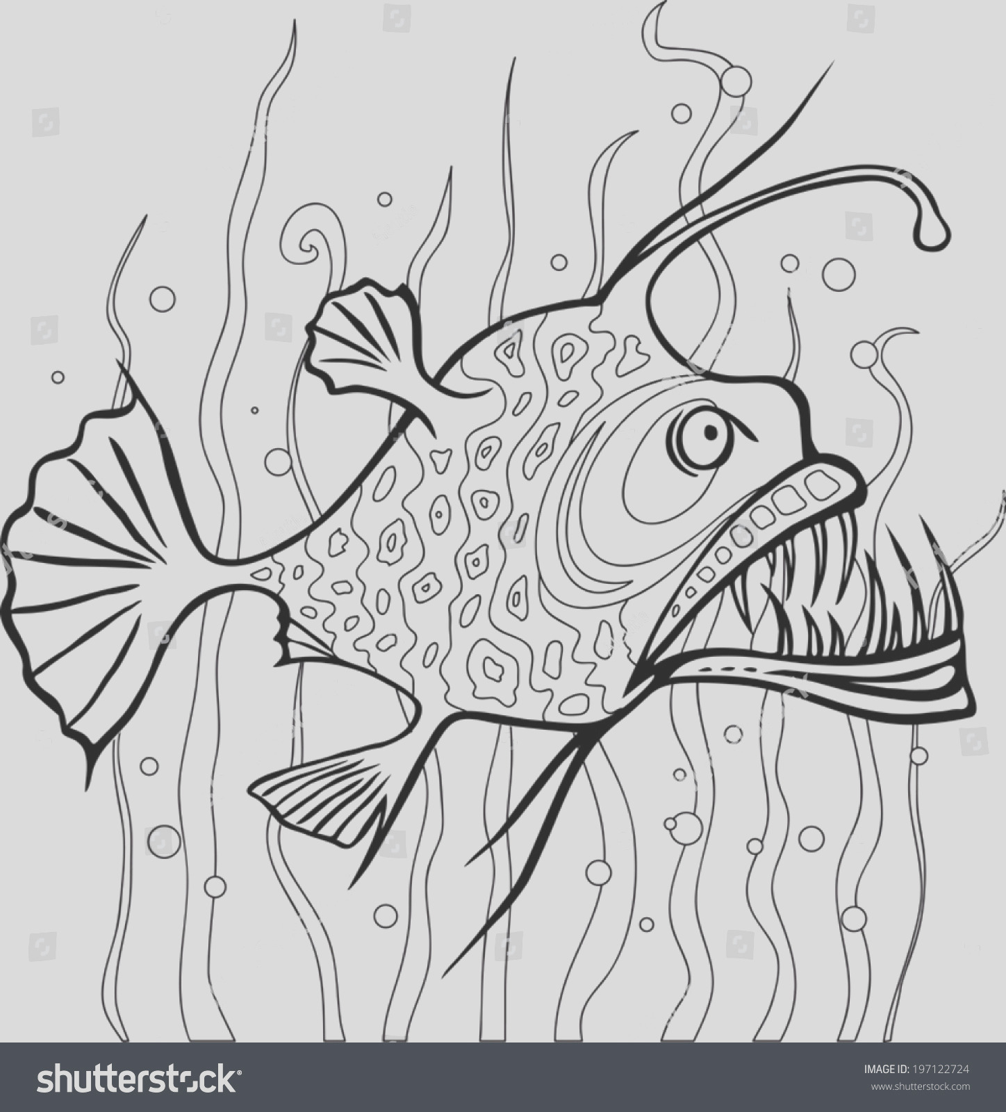 stock vector angler fish coloring page black and white line vector drawing