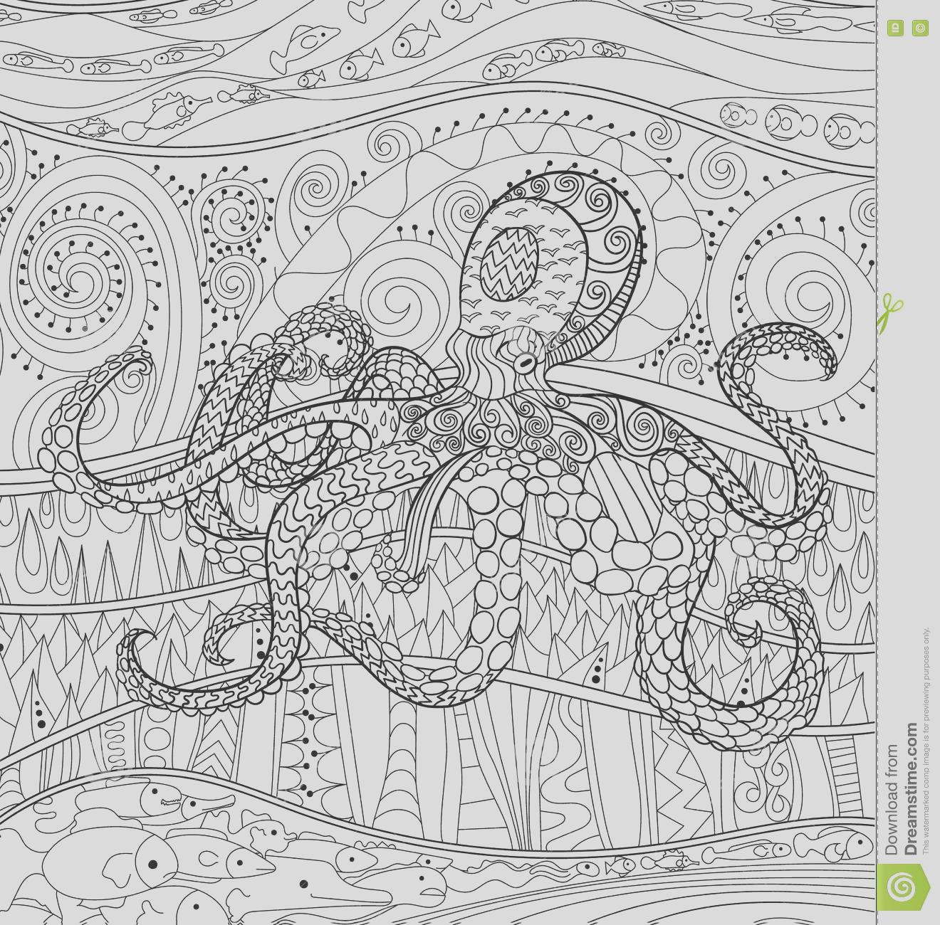 stock illustration octopus high details adult antistress coloring page black white sea animal art therapy abstract pattern oceanic image