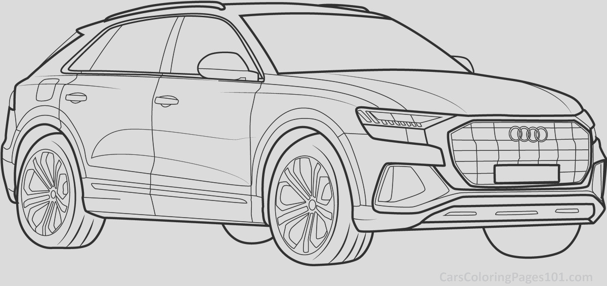 231 audi q8 2019 front view coloring page