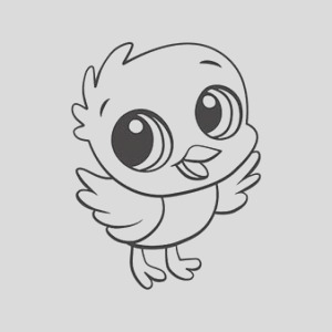 baby chick posing coloring page