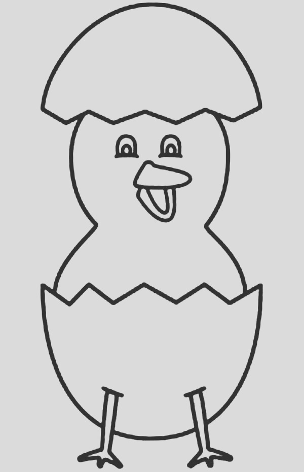 baby chick standing with his eggshell coloring page