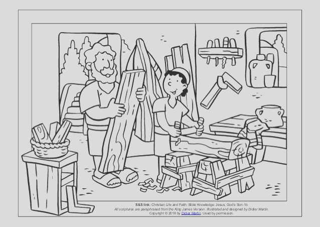 coloring page young people in the bible the carpenters son