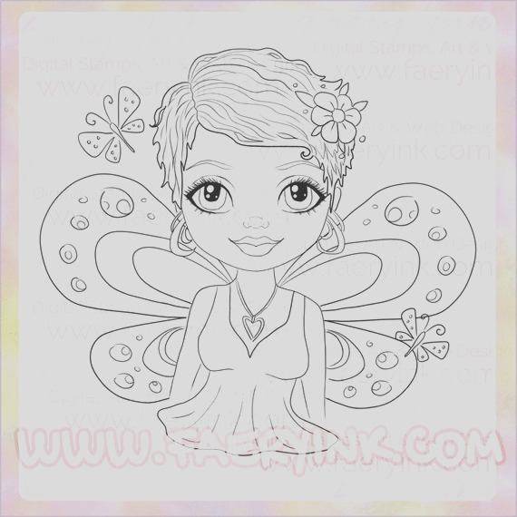 big eyes fairy butterfly girl uncolored
