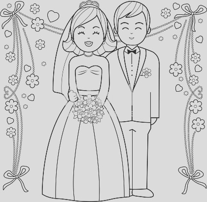 bride and groom coloring book page gm