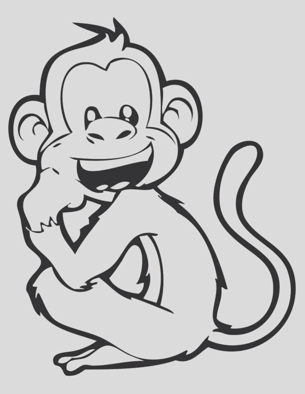 laughing monkey coloring page