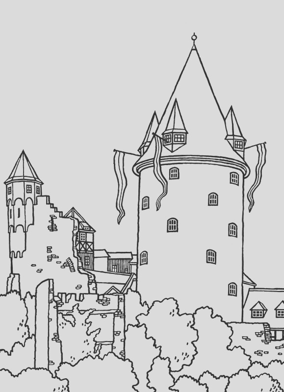 coloring pageslineart castles